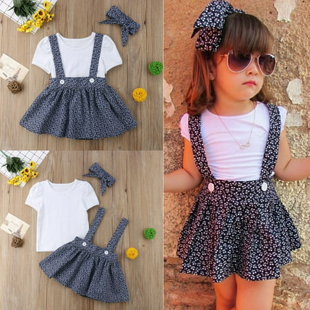 3pcs Casual Baby Girl T-shirt Tops Dress Outfit Set Toddler Summer Dresses