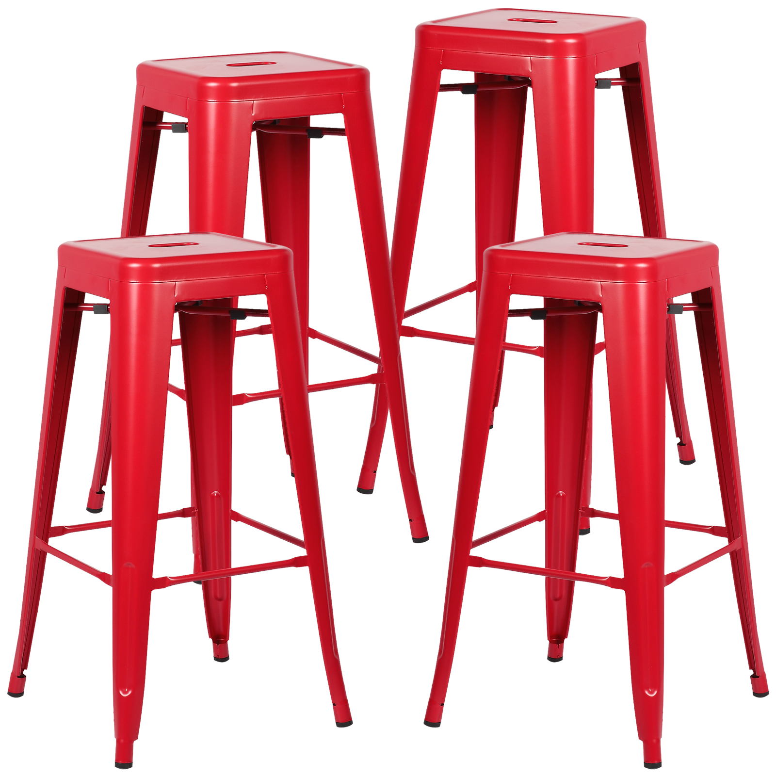 Poly and Bark Trattoria Bar Stool in Red (Set of 4) by Poly and Bark