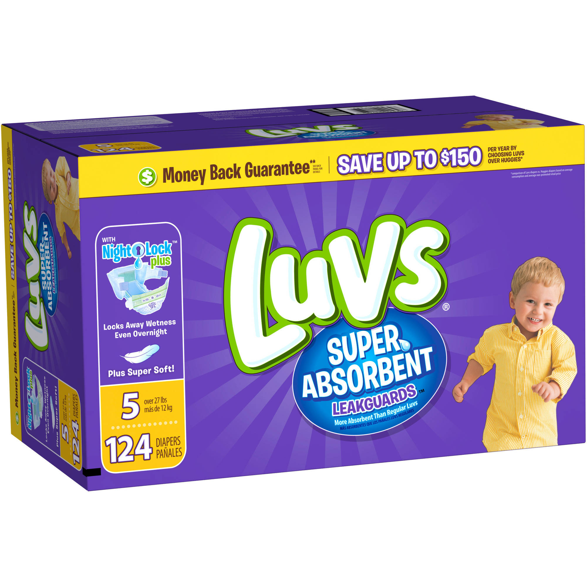 Luvs Super Absorbent Leakguards Diapers, Size 5 (Choose Diaper Count)