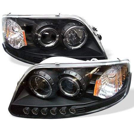 Spyder Ford F150 97-03 / Expedition 97-02 1PC Projector Headlights - ( Will Not Fit Manufacture Date Before 6/1997 ) - LED Halo - Amber Reflector - L