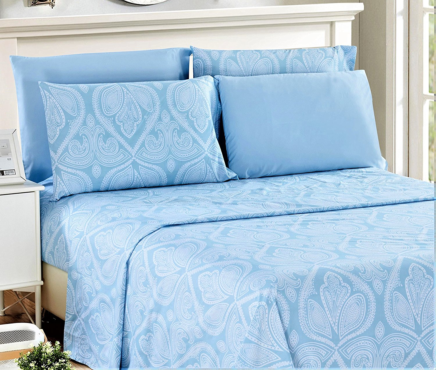9c230e6ad0 Lux Decor Collection Egyptian Quality Paisley Printed Bed Sheet Set Blue  Queen (1 Fitted Bed Sheet, 1 Flat Sheet, 4 Pillow Covers) - 1800 Series  Deep Pocket ...