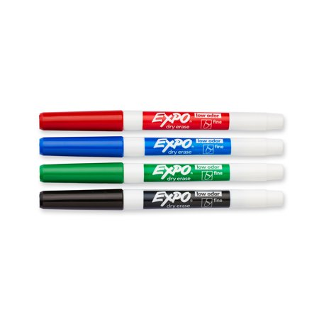 EXPO Low Odor Dry Erase Markers, Fine Tip, Assorted Colors, 4 (Individual Dry Erase Marker)