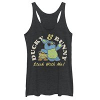 Toy Story Women's 4 Ducky & Bunny Stick With It Motto Racerback Tank Top