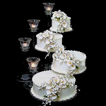 Tiered Cake Stand (Efavormart Lovely 4 Tier Acrylic 16 inch Crystal Glass Clear Cake Dessert Decorating Stand For Birthday Xmas Party)