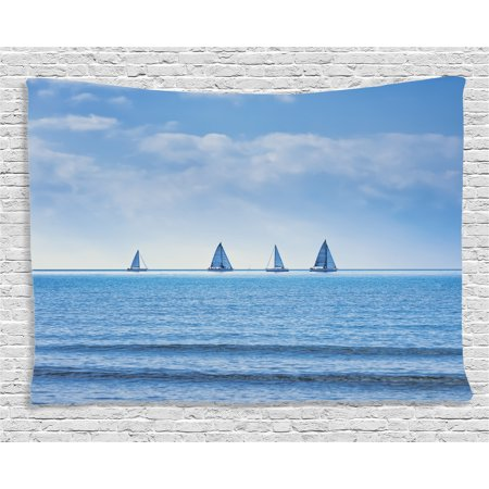 Nautical Decor Tapestry, Yachts on Ocean Water Regatta Race Panoramic Distant View Relax Win Photo, Wall Hanging for Bedroom Living Room Dorm Decor, 80W X 60L Inches, Light Blue, by Ambesonne
