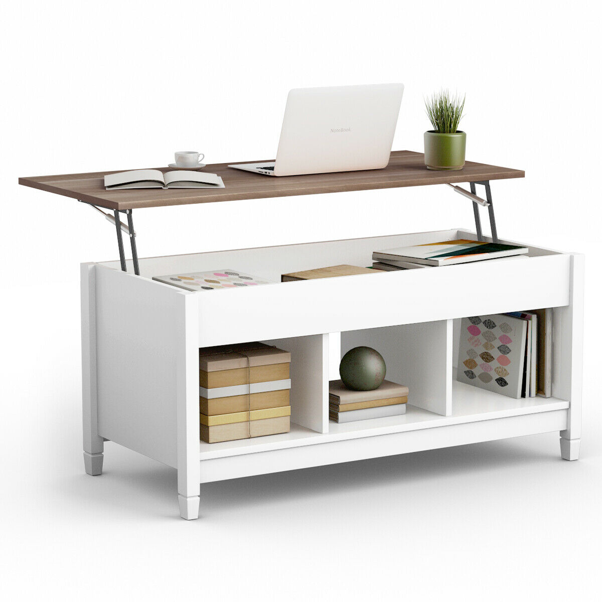 - Lift Top Coffee Table W/ Hidden Compartment And Storage Shelves
