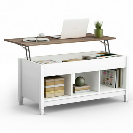 Lift Top Coffee Table W Hidden Compartment And Storage Shelves Furniture Canada
