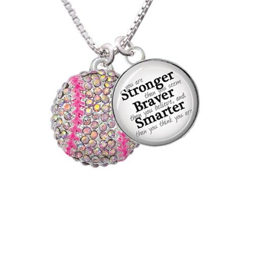 "Large Super Sparkle Crystal Pink AB Softball Stronger Braver Smarter Glass Dome Necklace, 18""+2"""