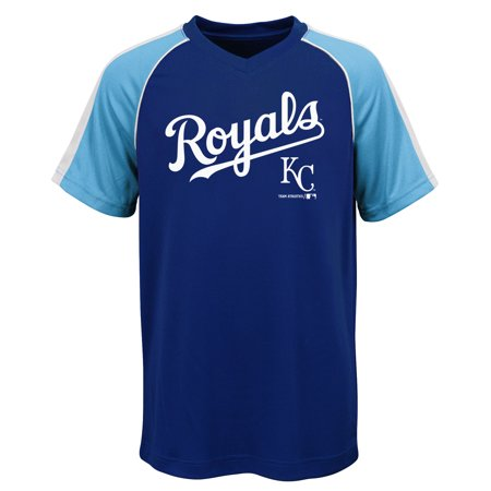 MLB Kansas City ROYALS TEE Short Sleeve Boys Fashion Jersey Tee 100% Polyester Pin Dot Mesh Jersey Team Tee 4-18](City Boy)