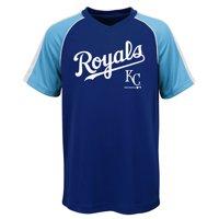 MLB Kansas City ROYALS TEE Short Sleeve Boys Fashion Jersey Tee 100% Polyester Pin Dot Mesh Jersey Team Tee 4-18