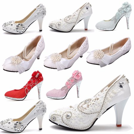 3 4 White Light Ivory Lace Crystal Wedding Shoes Bridal Heels Pumps