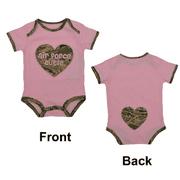 "Pink with ABU Camo Trim USAF ""Air Force Cutie"" Baby Bodysuit 9-12M"