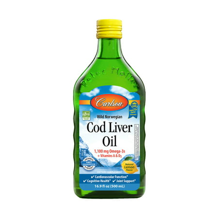 Carlson Wild Norwegian Cod Liver Oil Liquid, 1100 mg Omega-3s, Lemon, 16.9 Fl -