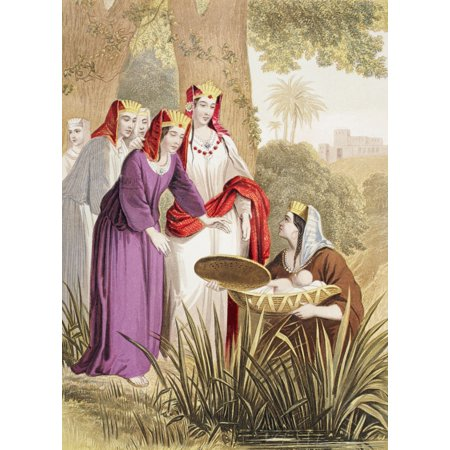 The Infant Moses Is Found In The Bulrushes On The River Bank By The Pharaohs Daughter From The Holy Bible Published By William Collins Sons   Company In 1869 Chromolithograph By Jm Kronheim   Co Canva