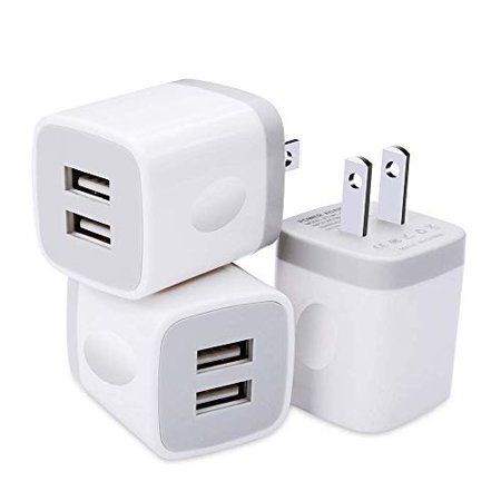 USB Charger, 3-Pack 5V/2.1AMP Power Adapters 2-Port Fast Dual Port Travel Mobile Phone AC Adapter Portable Block Plug Compatible with Phone XS MAX/XR/X/8/7/Plus/6S/6/SE/5S/5C/Tablet (White-Silver) Mobile Phone Ac Adapter