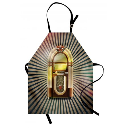 Jukebox Apron Retro Vintage 50s Pin Up Inspired Striped Backdrop Old Music Box, Unisex Kitchen Bib Apron with Adjustable Neck for Cooking Baking Gardening, Brown Beige and Petrol Green, by Ambesonne