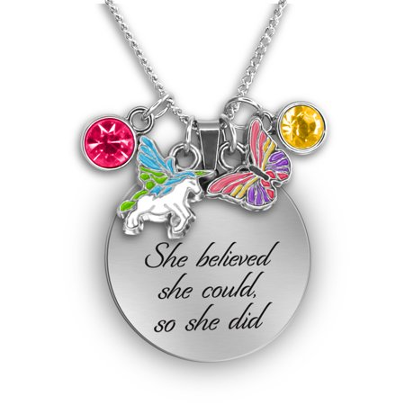 She Believed She Could So She Did Daughter Necklace Charm Necklaces for Teen Girls Butterfly and Unicorn Charms |Inspirational Jewelry for (Rhinestone Butterfly Necklace)