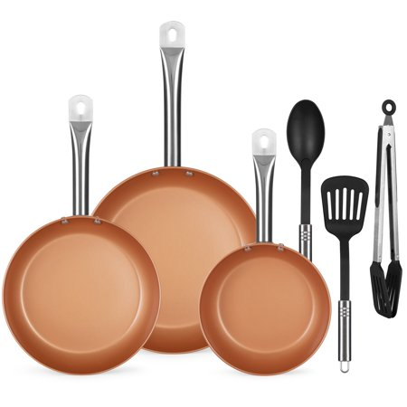 Best Choice Products 6-Piece Kitchen Non-Stick Ceramic-Coated Round Heavy-Duty Frying Pan Dishwasher Safe Aluminum Cookware Set w/ Omelette, Saute, Chef Pans, 3 Non-Scratch Nylon Utensils - Copper Anodized Aluminum Chefs Pan