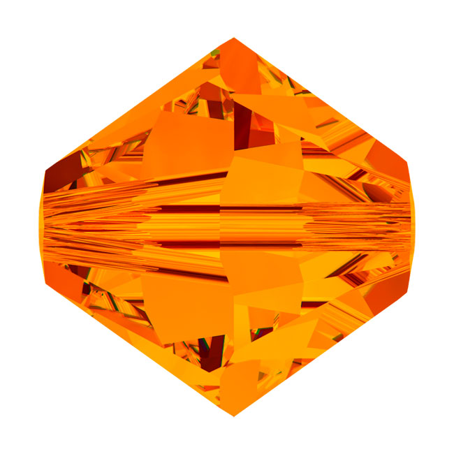Swarovski Crystal, #5328 Bicone Beads 3mm, 25 Pieces, Tangerine