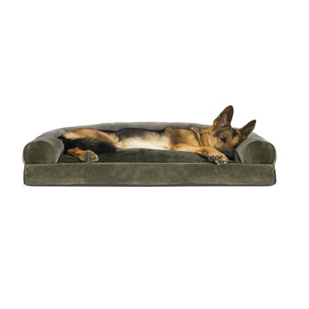 Super Furhaven Pet Dog Bed Faux Fur Velvet Pillow Sofa Style Couch Pet Bed For Dogs Cats Dark Sage Jumbo Ncnpc Chair Design For Home Ncnpcorg