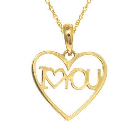 """14K Real Yellow Gold I Love Heart You Charm Pendant Necklace 18"""""""