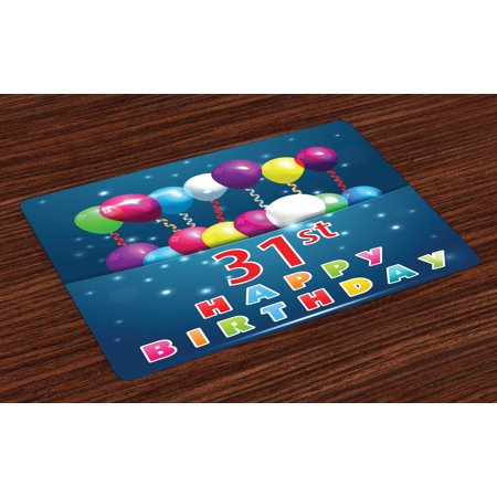 31st Birthday Placemats Set of 4 Joyful Occasion Party Theme with Colorful Balloons Flying 31 Years Old Age, Washable Fabric Place Mats for Dining Room Kitchen Table Decor,Multicolor, by - Themes For 4 Year Old Birthday Party