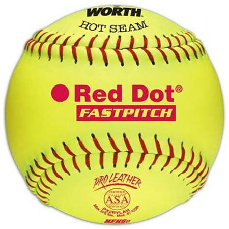 "Worth Pro Leather Hot Seam Red Dot Offical ASA Fastpitch Softball-12"" - 1 Dozen"