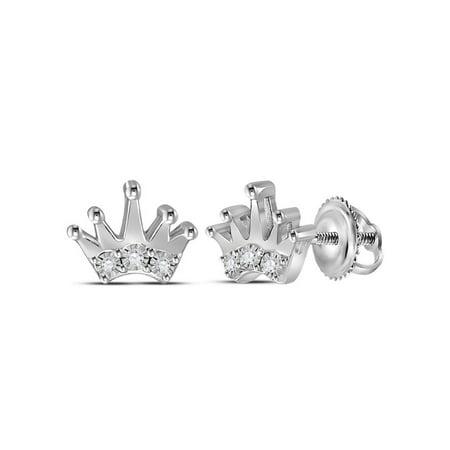 1/20 Carat (ctw) Diamond Crown Charm Earrings in Sterling Silver - image 1 de 1