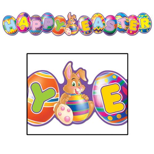 Club Pack of 12 Multi-Colored Happy Easter Hanging Streamer Decorations 35""