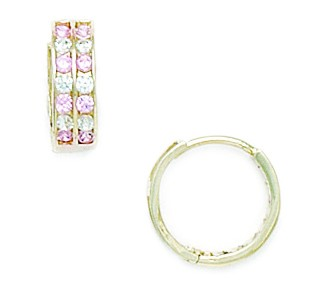 14k Yellow Gold Pink Cubic Zirconia Hoop Hinged Earrings Measures 11x12mm by Jewelryweb