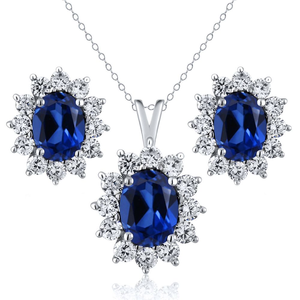 3.20 Ct Oval Blue Simulated Sapphire 925 Sterling Silver Pendant Earrings Set by