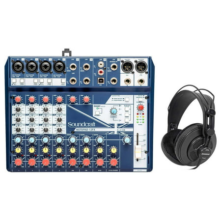 Soundcraft Notepad-12FX 12-Channel Mixer w/USB I/O + Effects + Samson Headphones