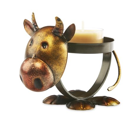 Pack of 4 Brown and Bronze Metal Rustic Chic Cow Decorative Tealight Candle Holder 4.5