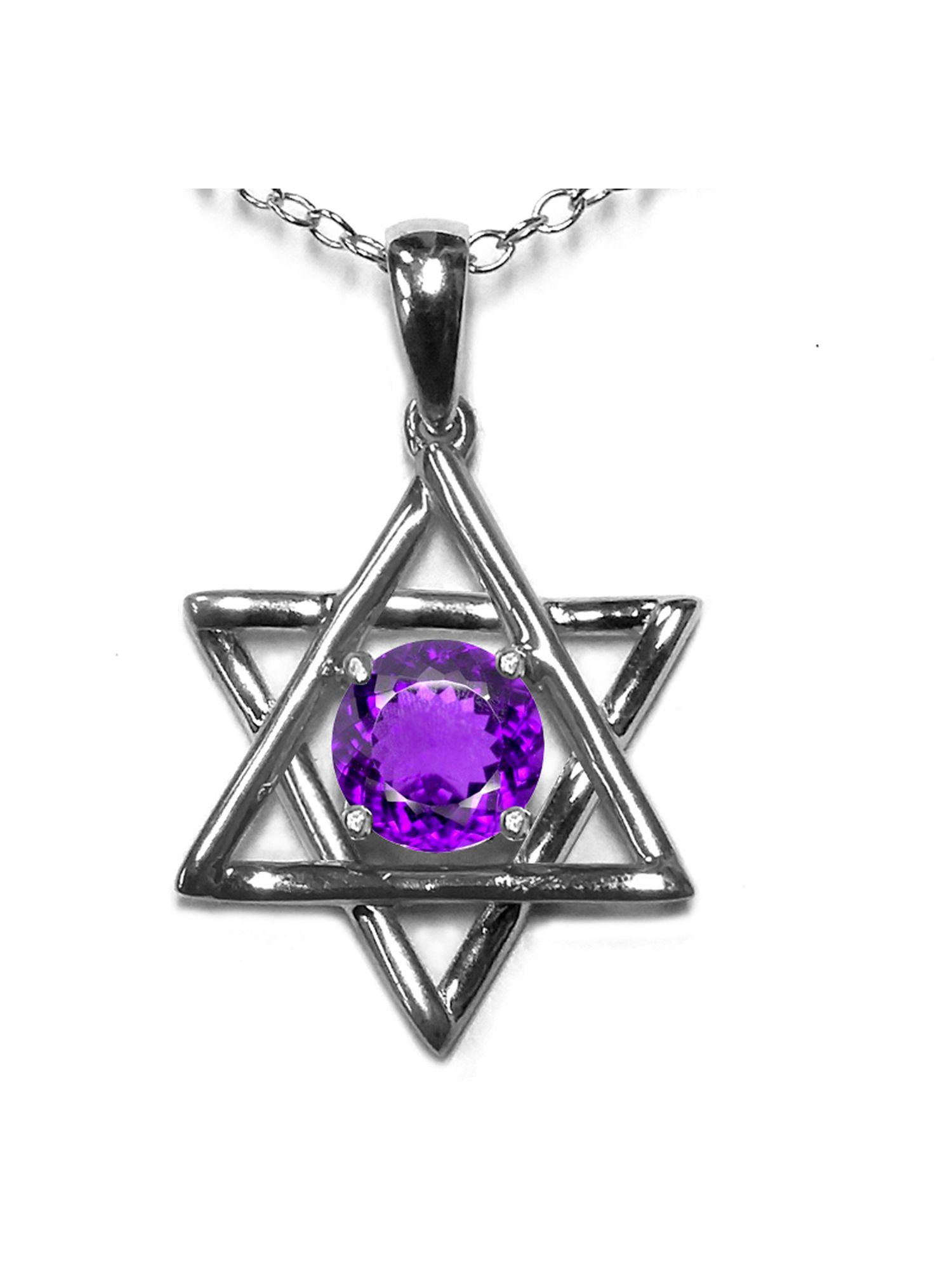 Star K Jewish Star of David Pendant Necklace with Round Genuine Amethyst in 10 kt White Gold by Star K