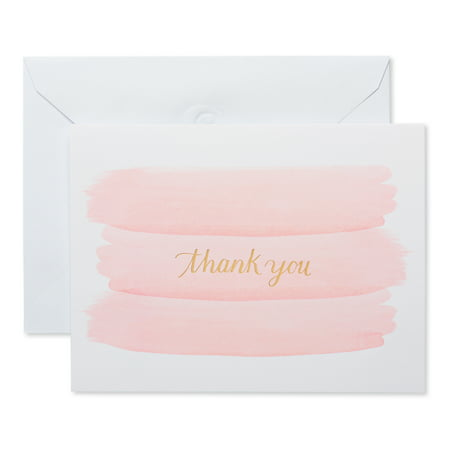 American Greetings Gold and Pink Brush Thank You Cards, 50ct - Unicorn Thank You Cards