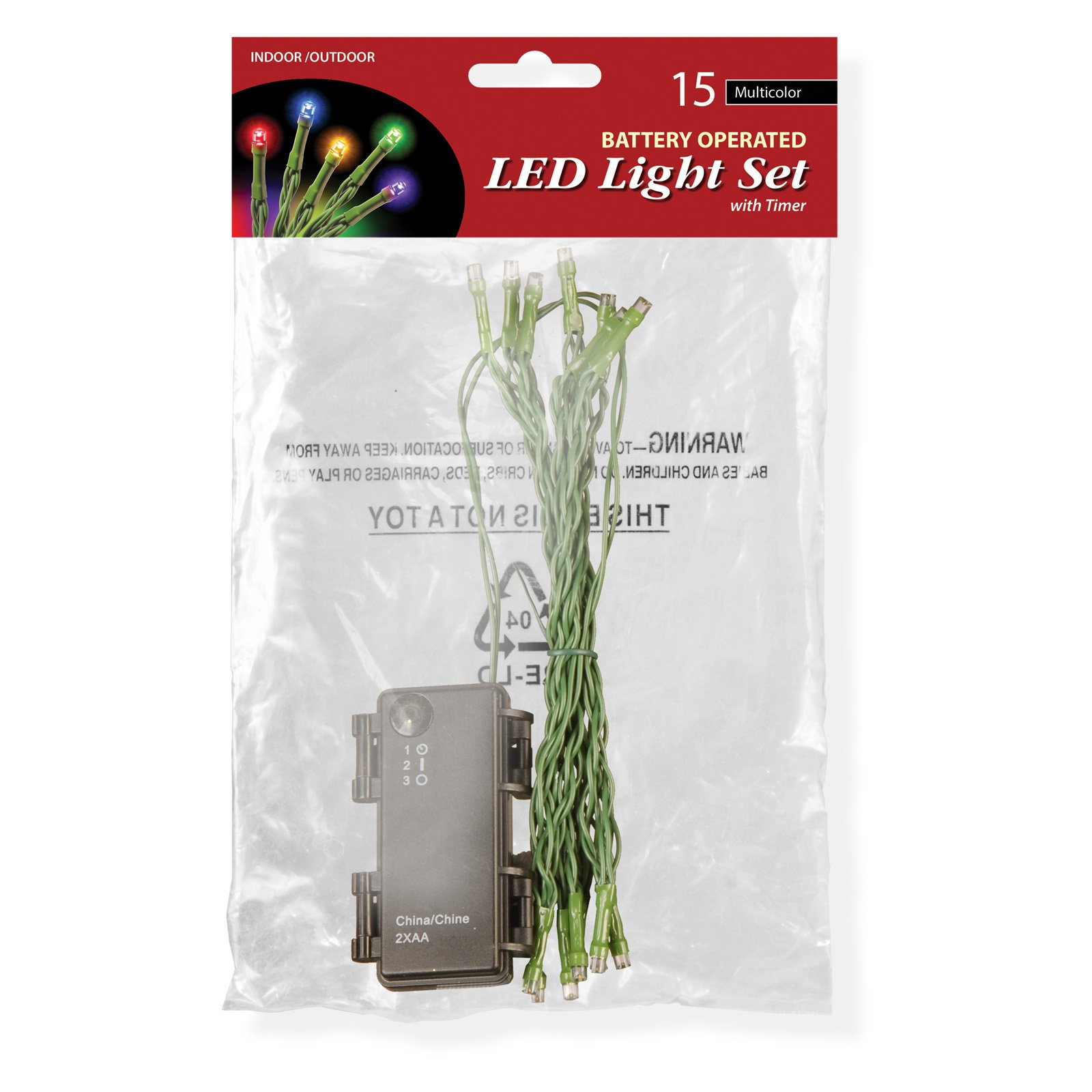 Battery Operated LED Light String Set, 15 Bulb, Multicolor