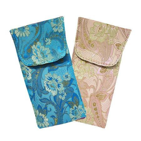 (2 Pack Floral Eyeglass Case Top Closure, Slip In Eyeglass Case Soft Fits Medium To Large Glasses, Women)