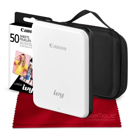 Canon Ivy Mini Mobile Photo Printer (Slate Gray) with Canon 2 x 3 Zink Photo Paper (50 Sheets) and Hard Shell Case Deluxe