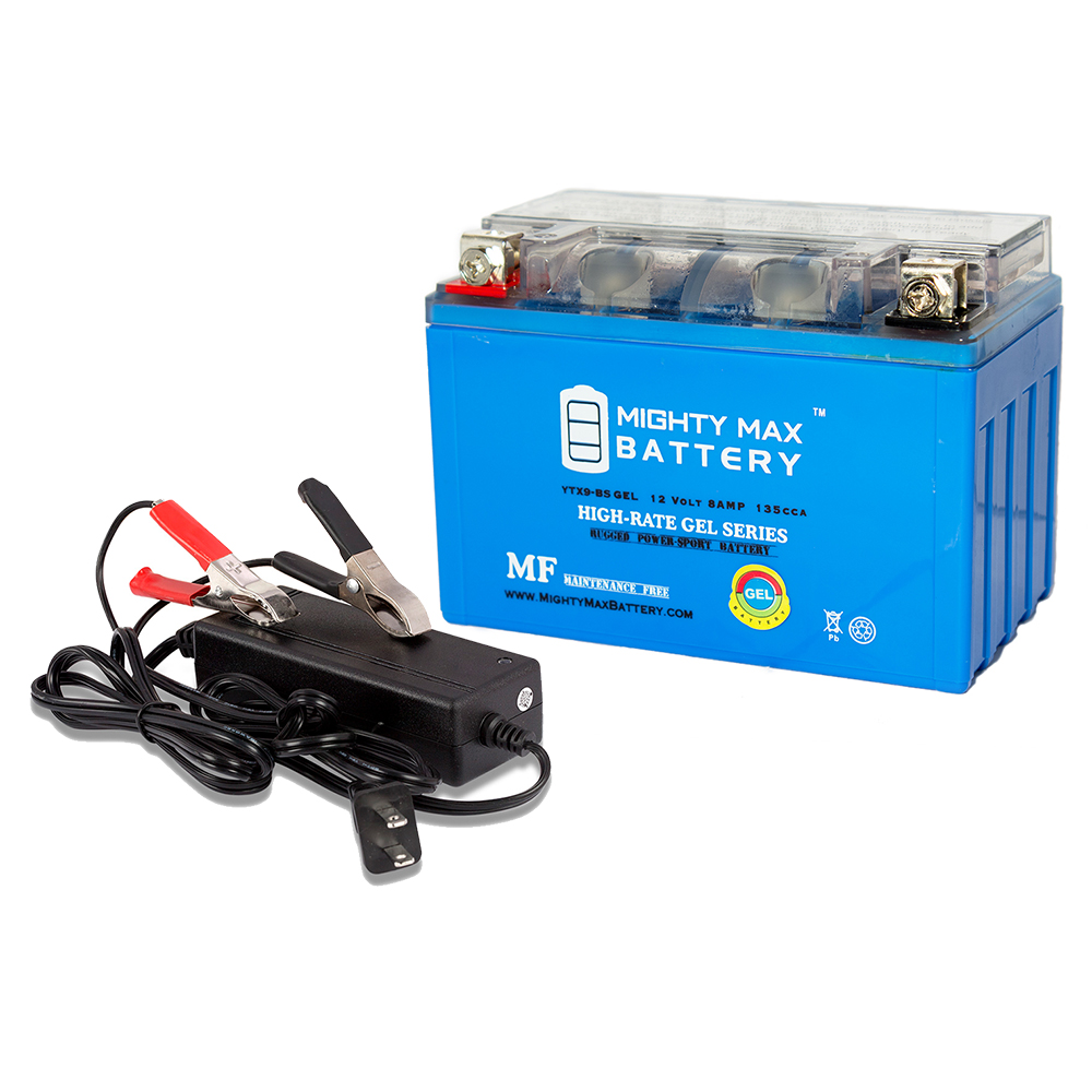 YTX9-BS GEL Replaces Piaggio Vespa 125 ET4 00-04 + 12V 2Amp Charger