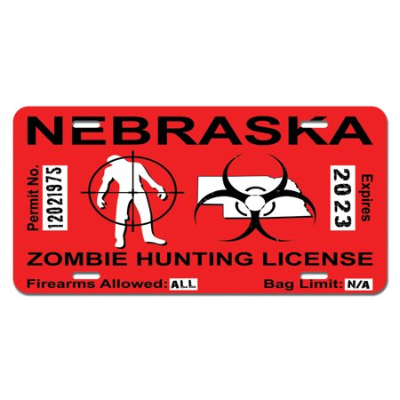 nebraska ne zombie hunting license permit red - biohazard response