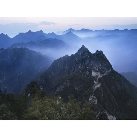 Great Wall in Early Morning Mist, China Print Wall Art By Keren Su