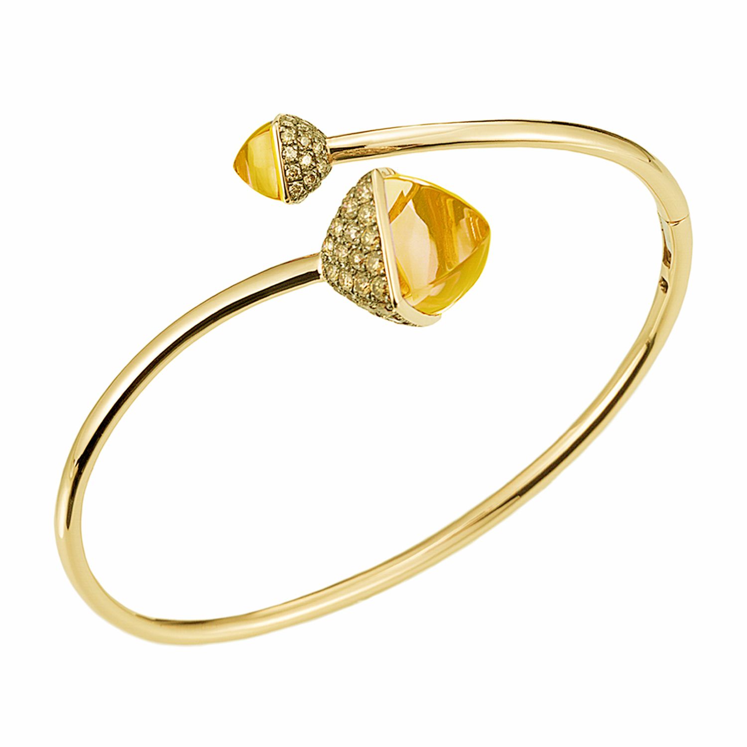 Diamond and Citrine Bypass Bracelet in 14k Yellow Gold by Ax Jewelry