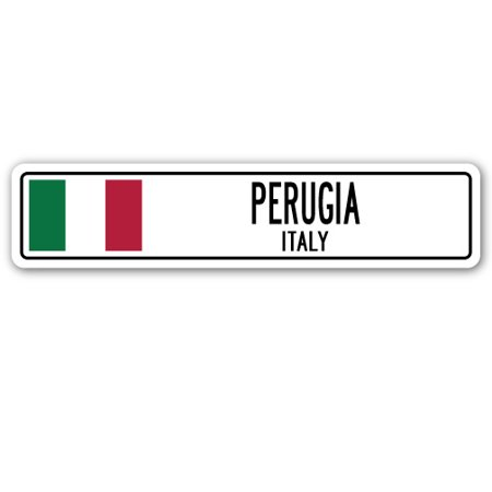 PERUGIA, ITALY Street Sign Italian flag city country road wall gift