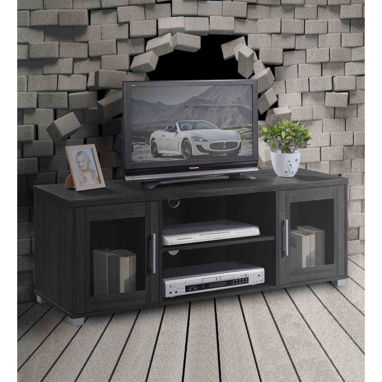 Hodedah Imports Entertainment Unit with Glass Doors - Black