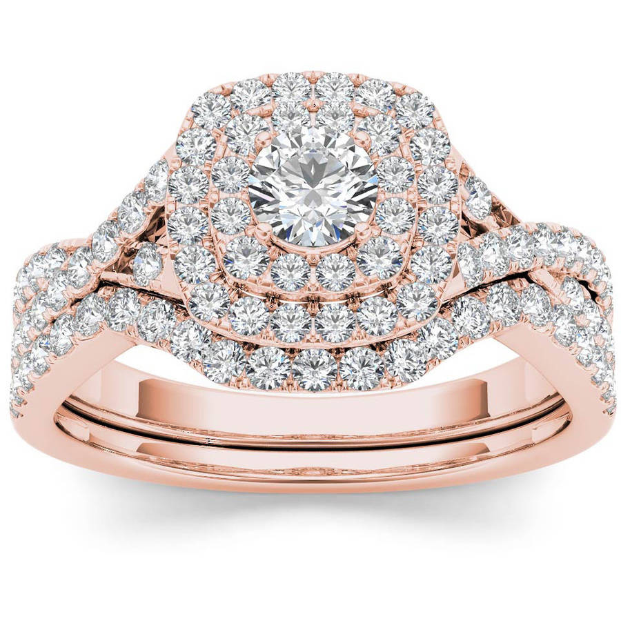 Imperial 7/8 Carat T.W. Diamond Double Halo 10kt Rose Gold Engagement Ring Set