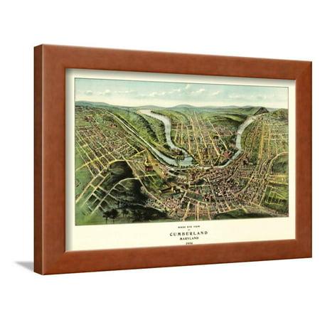 Standard Framed Panoramic Print - Cumberland, Maryland - Panoramic Map Framed Print Wall Art By Lantern Press