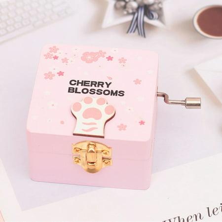 Cherry Blossom Coat (Fancyleo 1 Romantic Cherry Blossoms Cat Claw Hand Shake Retro Wooden Music Box Gift Decor)