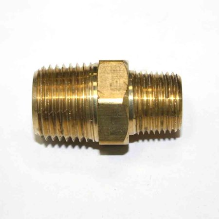 12 Inch Brass Nipple - FA618 3/8 Inch x 1/2 Inch NPT Male Brass Hex Nipple Reducer, Threads: 3/8 inch x 1/2 inch NPT Male - Machined (Provides seal tight threads) By Interstate Pneumatics