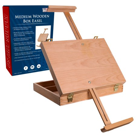 US Art Supply Adjustable Medium Wood Table Sketchbox Easel Storage Box Painting Metal Table Easel
