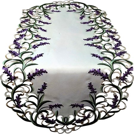 Doily Boutique Table Runner with Purple Lavender Lilac Flowers on Antique White Fabric Size 44 x 15 inches, -
